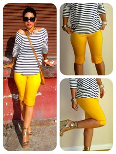 pantacourt jaune+top noir et blanc à longs manches+ sac marron+ sandales+lunettes