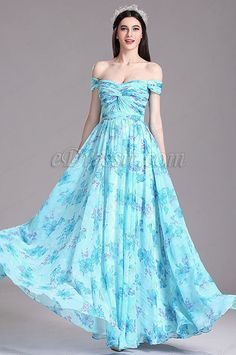 eDressit Azure Floral Off Shoulder Pleated Printed Evening Dress (X07151744)