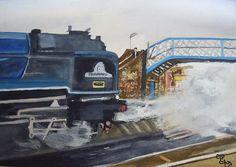 Tornado and Chertsey Station Bridge watercolour