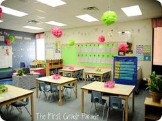 "I love this classroom set-up that I found on ""First Grade Blog"". I hope to use this idea, and change things around to make it my own. This area shows students desk, bulletin board to display their work and the board."