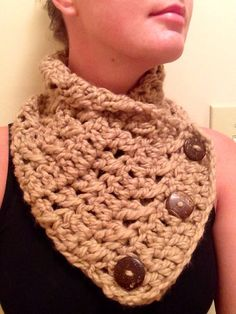 Side button cowl, handmade scarf, women's extra soft cowl. Camel on Etsy, $25.00