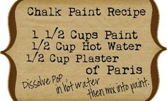 Chalk Paint Recipe. Ill try this later