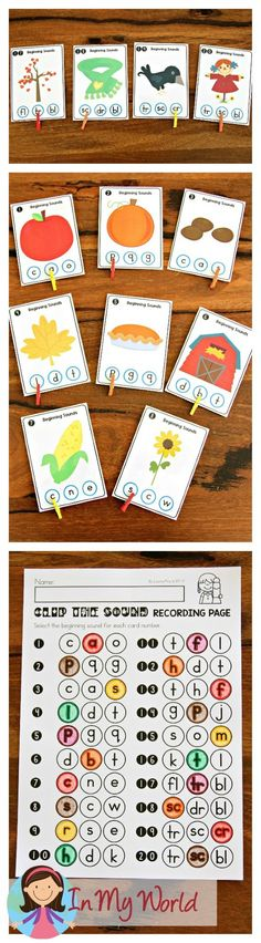 5 Preschool Worksheets Beginning sounds Autumn Literacy Centers for Kindergarten In My World worksheets Kindergarten Reading Activities, Kindergarten Freebies, Literacy Games, Kindergarten Centers, Literacy Stations, Alphabet Activities, Preschool Worksheets, Literacy Centers, Reading Resources