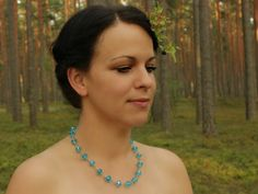 Frozen necklace Aqua blue Wedding Gift for her by SalixCinerea