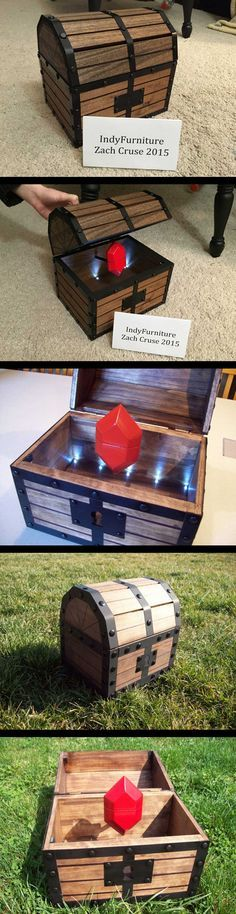 Legend of Zelda Treasure Chest – Lights, Sound & Rupee Ring Box -- Click Through For A Demo Video! -- I'm pretty sure this would seal the deal even if the lucky lady has no idea what this is… really is. (besides amazing) If you really want to give someone a Zeldagasm, put one of these (link to zelda ring) in the rupee box. Shoot, I'd marry you if you gave me one. www.GonnaWannaGetit.com
