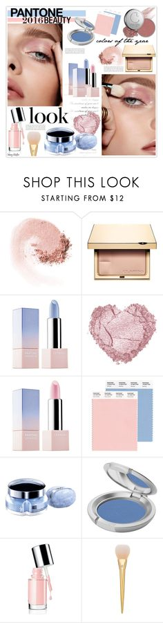 """Pantone Beauty: Rose Quartz and Serenity"" by mcheffer ❤ liked on Polyvore featuring beauty, NARS Cosmetics, Clarins, Sephora Collection, Thierry Mugler, T. LeClerc, Kerr® and pantonebeauty"