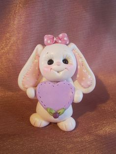 *POLYMER CLAY ~ bunny rabbit birthday cake topper Christmas ornament  polymer clay personalized childrens gift animal pet