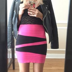 ✨SALE✨ Bebe hot pink and black bandage skirt Adorable bandage skirt, fitted, hot pink and black design. Pairs well with a black body suit or crop top. Sized small P, very stretchy, would fit a small to xs bebe Skirts Mini