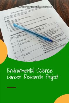 This READY TO GO PROJECT is a great sub plan, introductory project, or end of the year project. It is also a good cross-curricular assignment that helps build presentation skills, as well as science, and career knowledge. This resource includes complete directions for students to research a career related to environmental science and create a presentation. It guides them through some common careers and the information that should be included on their slides. Earth Science Activities, Science Topics, Science Curriculum, Science Resources, Science Lessons, Secondary School Science, Middle School Science, Biology Classroom, Teaching Biology