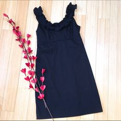 BANANA REPUBLIC dress, sz 2. Classy and simple black dress by Banana Republic, size 2. Pleats around neckline. Fully lined, zippered back, dress length is 35 inches. Great condition. Banana Republic Dresses Midi