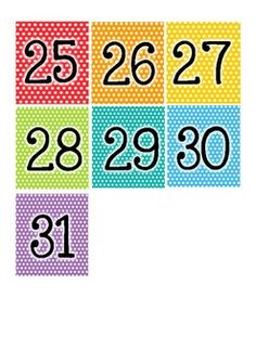 Rainbow numbers by Lou Lewis Math For Kids, Activities For Kids, Calendar Skills, Calendar Numbers, Classroom Calendar, Kids Math Worksheets, Numbers Preschool, Rainbow Room, Months In A Year