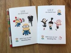 A6 Personalised Childrens Wedding Activity Pack Book Bag Favour MINIONS inspired