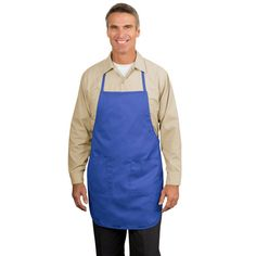 """Port Authority® Full Length Apron - Enjoy full-length protection and the convenience of an easy care blend. 5.5 Ounce, 65/35 poly/cotton for easy care. Unique fitting system allows for a tailored look by pulling a single strap. Two patch pockets, pen pocket. 22"""" W x 30"""" L"""