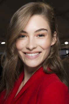Grace Elizabeth backstage at the Max Mara F/W 2017 fashion show during Milan Fashion Week.