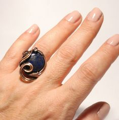 Lapis Lazuli Ring Copper ring Copper Jewelry Statement | Etsy Copper Wire Jewelry, Copper Necklace, Copper Bracelet, Copper Anniversary Gifts, Copper Gifts, Lapis Lazuli Jewelry, Wire Wrapped Rings, Healing Bracelets, Boho Rings