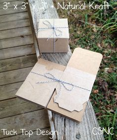 "5 Each - 3"" x 3"" x 2"" Natural Kraft Tuck Top Gift Boxes - Bakery - Birthday Box #PaperMart #AnyOccasion"