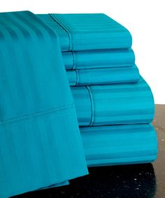 This Teal Egyptian Cotton Sateen Sheet Set is perfect! #zulilyfinds