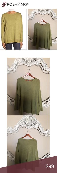 Eileen Fisher Ballet Neck Wool BOXY Eileen Fisher - Ballet neck, Merino wool, color-  Moss, boxy style sweater. Made from fine Italian wool, 100% Merino Wool. Excellent condition, no signs of wear at all. No trading. Eileen Fisher Sweaters Crew & Scoop Necks