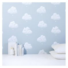 cotton-clouds-wall-paper-blue-smoke