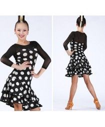 Black red multi printed white polka dot colored women's ladies female tulle sleeves  and back round neck latin samba cha cha rumba salsa dance dresses dancer costumes