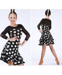 Black red multi printed white polka dot colored women's ladies female tulle sleeves  and back round neck latin samba cha cha rumba salsa dance dresses dancer costumes