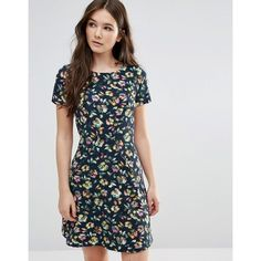 Closet Floral Short Sleeve Dress featuring polyvore women's fashion clothing dresses multi floral fit and flare dress scoop-neck dresses floral dresses floral print fit and flare dress scoop neck dress