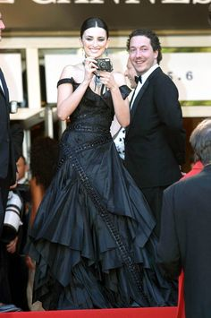 """2003 - Penelope Cruz wears Christian Dior Haute Couture dress, designed by John Galliano during 2003 Cannes Film Festival - """"Fanfan La Tulipe"""" - Opening Night Premiere at Palais des Festivals in Cannes, France. Styled by Alexis Roche"""