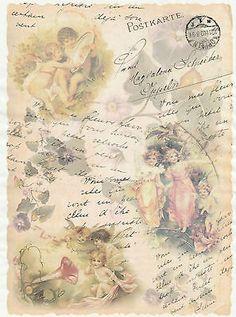 "Rice Paper Decoupage Scrapbook Sheet Craft ""Angels Postcard"""