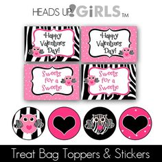 Zebra Owls Treat Bag Toppers or Cards and Kisses Stickers at HeadsUpGirls.com