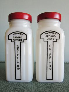 Vintage Griffiths' spice jars milk glass with by SWEPTinFROMtheSEA