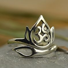 Adjustable Sterling Silver Openwork Lotus and Ohm Ring #ninadesignsmayfloral @Nina Designs.com