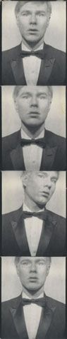 Andy Warhol (American, 1928-1987)    Self-Portrait (Tuxedo), 1964     photobooth photograph    7 7/8 x 1 1/2 in. (20 x 3.8 cm.)    The Andy Warhol Museum, Pittsburgh; Founding Collection, Contribution The Andy Warhol Foundation for the Visual Arts, Inc.    © The Andy Warhol Foundation for the Visual Arts, Inc.    1998.1.2748