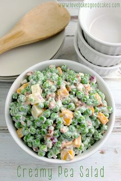 Creamy Pea Salad Leave the cheese out to make dairy free.