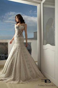 A tunisian couture masterpiece. White Wedding Gowns, Gorgeous Wedding Dress, Wedding Lace, Fantasy Wedding, Dress Wedding, Designer Wedding Dresses, Bridal Dresses, Wedding Gown Cakes, Boyfriends