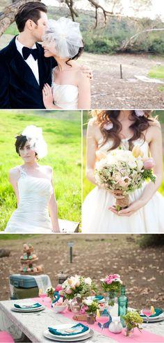 Vintage Wedding Inspiration {Lace, Blue + Pink} | La Belle Bride