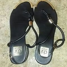 Dolce Vita Sandles Black with Gold sandles  In really good condition.  Really cute & comfy Dolce Vita Shoes Sandals