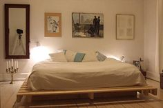 DIY Pallet Bed with Light Lamp | 99 Pallets