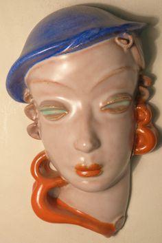 RARE Goldscheider Wien Art Deco Terracotta Wall Mask Lady in Blue Hat No 6537 | eBay