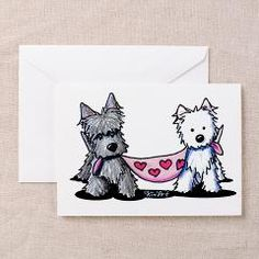 Scottie and Westie Valentines by KiniArt™ Dog Line Drawing, Dallas Cowboys Pictures, Valentines Day Drawing, Valentine Greeting Cards, Scottish Terrier, Westies, Scottie, American Artists, Cartoon Drawings