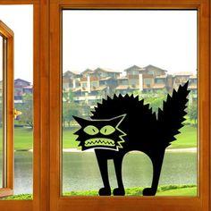 $2.94 Creative Horror Black Cat Pattern Wall Sticker For Bedroom Livingroom Decoration