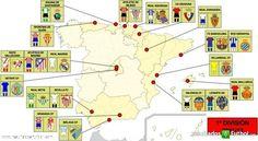 Mapa Liga 2011-2012: nombra los equipos, sitúalos en sus comunidades, describe el color del escudo/de la camiseta...