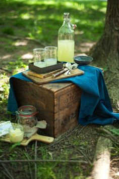 Use a vintage wood box in place of a picnic basket