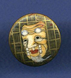 Button  Satsuma Noh Mask 'D' by gbbuttons on Etsy