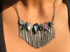 Riverstone statement necklace, Chloe + Isabel pre-fall 2017. Liquid metals, cloud quartz, mother of pearl, gray cat's eye glass, speckled teal, dark aqua, hematite, clear crystal pavé, light blue and light purple resin.