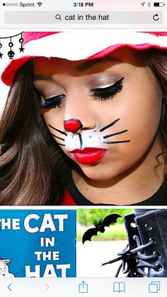 Simple cat in the hat face paint