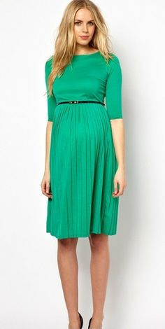 Midi Maternity Dress with Pleated Skirt - Green