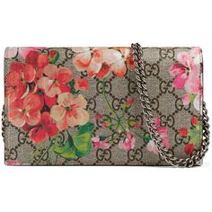Gucci Gg Blooms Supreme Chain Wallet ($780) ❤ liked on Polyvore featuring bags, wallets, brown wallet, flower print bag, canvas bag, floral canvas bag and chain strap bags