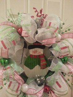 Snowman Deco Mesh Holiday Wreath by NoLimitCrafts on Etsy, $89.00
