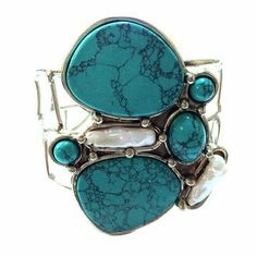 turquoise and pearl  cuff ++