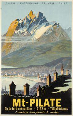 Mt-Pilate, Ch. de fer à crémaillère, Téléphériques travel poster